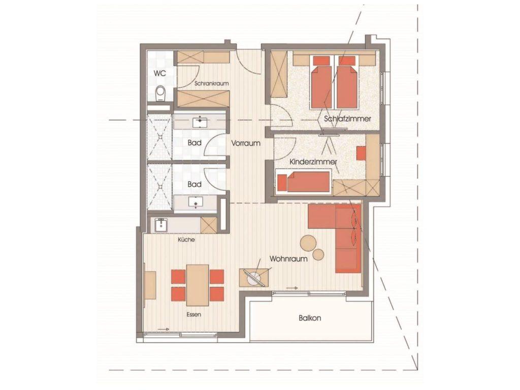 Grundriss Apartment Prossau Hotel Sendlhofer's Bad Hofgastein